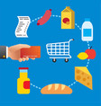buying food meal in supermarket vector image