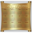 calendar for 2016 year gold metallic vector image