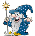 Cartoon of a Happy Old Wizard Magic Man vector image