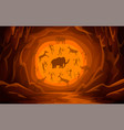 cave with cave drawings cartoon mountain scene vector image vector image