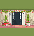 christmas decoration of entrance doors vector image vector image