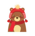 cute bear animal with hat and scarf vector image