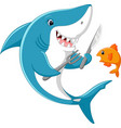 cute shark cartoon ready to eat little fish vector image vector image