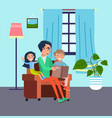 dad spends time with his children reads book vector image vector image