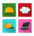design of headgear and cap icon set of vector image vector image