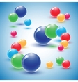 Different colour glass balls on blue background vector image vector image