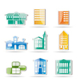 different kind of houses and buildings vector image vector image