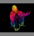 feast trumpets jewish people blowing shofar vector image vector image