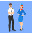 flat style of aircrew pilot and stewardess vector image vector image