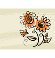 floral background with sunflowers and butterfly vector image