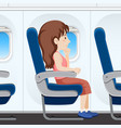 girl on airplane seat vector image vector image