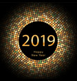 gold discoball new year 2019 greeting poster vector image vector image