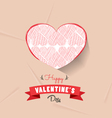 happy valentines day with heart sketched vector image vector image