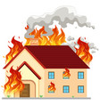 isolated modern house on fire vector image vector image