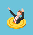 isometric businessman drowning into golden dollar vector image vector image