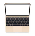 laptop gold mockup vector image vector image