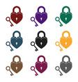 lock and key icon in black style isolated on white vector image