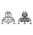 lunar module line and glyph icon science and vector image vector image