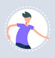 man dancing pose round frame gray background vector image