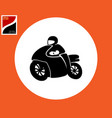 motorcyclist icon in motion vector image