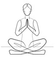 namaste yoga pose one continuous line abstract vec vector image vector image