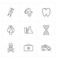 nine flat medicine icons vector image vector image
