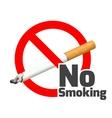 No smoking sign Red alert symbol cross cigarette vector image