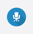 Office chair Flat Blue Simple Icon with long vector image vector image