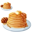Pancakes with honey and butter Cartoon vector image vector image