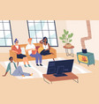 people watch tv friends together in living vector image vector image