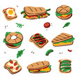 sandwiches and desserts with buns and fillings vector image vector image