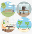 set of workplace and relax round web banners in vector image