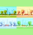 set seasonal with bench in city vector image
