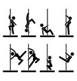 Sexy pole dance icon symbol sign pictograph a set