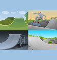 skate park banner set cartoon style vector image