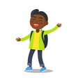 smiling kid in green jacket jeans with rucksack vector image vector image