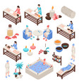 spa and beauty isometric set vector image vector image