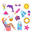 summer beach vacation elements set vector image