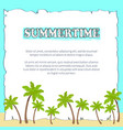 summertime poster on sheet of paper with text vector image