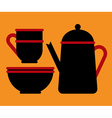 Teapot teacup and bowl vector image