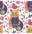 tribal cat seamless pattern vector image vector image