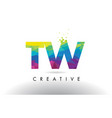 tw t w colorful letter origami triangles design vector image vector image