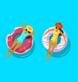 two girls swimming in pool with rubber ring vector image vector image