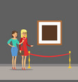 two young women standing in modern art gallery vector image vector image