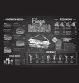 vintage chalk drawing burger menu design vector image vector image