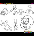 wild animal characters set coloring book vector image vector image
