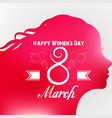 happy women day greeting card with female face vector image