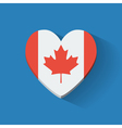 Heart-shaped icon with flag of Canada vector image