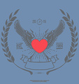 Vintage Angel Heart with Wings vector image