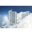 City in the clouds background vector image